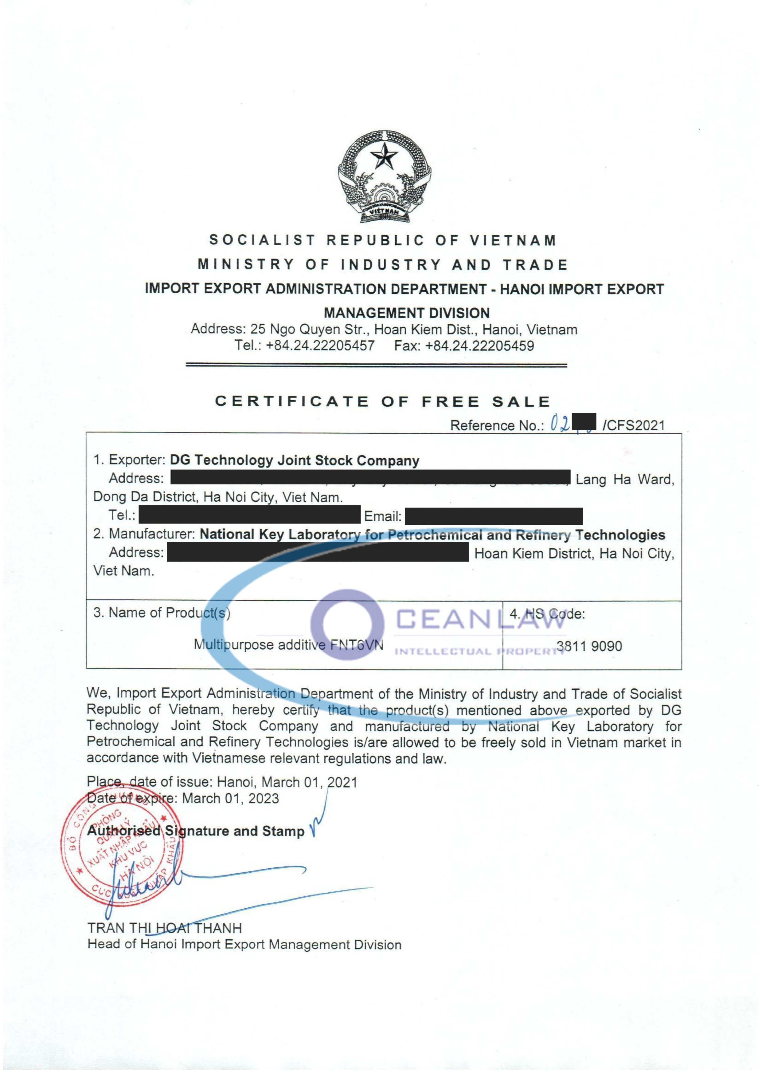 Xin giấy chứng nhận lưu hành tự CFS